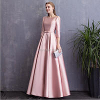 YNQNFS MD101 Real Pics Party Cocktail Gowns 3/4 Cap Sleeves Pearls Vintage Mother of the Bride Dresses Long Pink/Red 2019