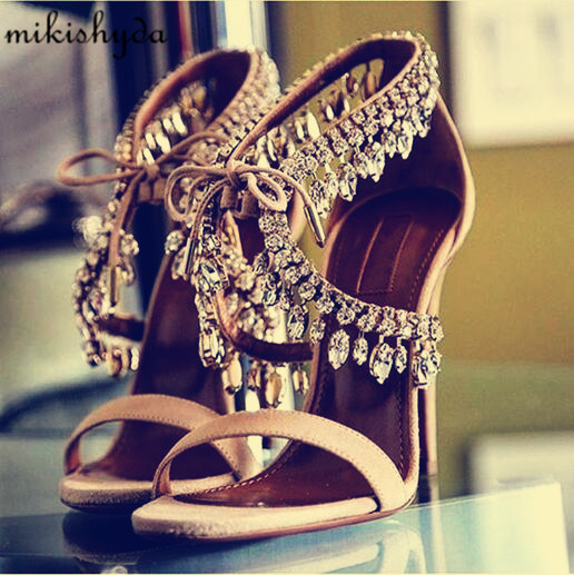 Summer Bling Bling Women Gladiator Sandals Brand Suede Strappy High Heels Shoes Woman Lace Up Pumps Rhinestone Zapatos Mujer handmade fashion ladies high heels suede gladiator sandals rhinestone wedding dress shoe women pumps sandalias mujer shoes woman