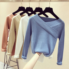 Autumn Winter Sweater Women Sexy V Neck Off Shoulder Long Sleeve Jumper Women Cashmere Solid Sweater Women Pullover Knitted 2018
