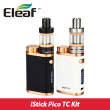 Nueva 75 w pico kit con melo eleaf istick mini atomizador 2 ml de color bronce vw/bypass/tc-ni/tc de ti/tc-ss/tcr modo pico mod istick 75 w