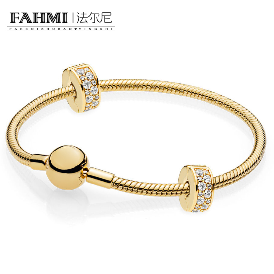 FAHMI 100% Sterling Silver Brand New 1:1 Fashion Dazzling Gold Classic Noble Bracelet SetFAHMI 100% Sterling Silver Brand New 1:1 Fashion Dazzling Gold Classic Noble Bracelet Set