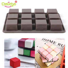 Delidge 1 Sheet 12 Holes Square Chocolate Fondant Mold  Cutter Kitchen Accessories Cake Decorating Tools
