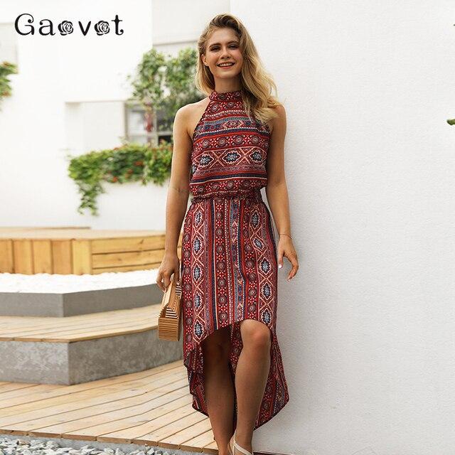 Gaovot 2018 Summer Women Dress Printed Sleeveless Halter Neck Long Dress Sexy Backless Boho Beach Dresses Feamle Vestidos S-XL