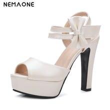 887bbc9308 NEMAONE sandálias da moda 2017 mulher verão sapatos 13 cm alta sólidos  partido sapatos de salto