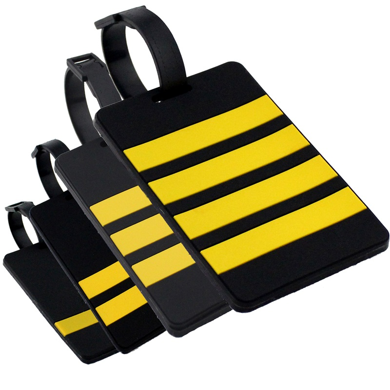 Captain's Epaulette Airplane Rubber Luggage Tag Personality Special Pilot Shoulder Mark Handbag Tag Travel Accessories