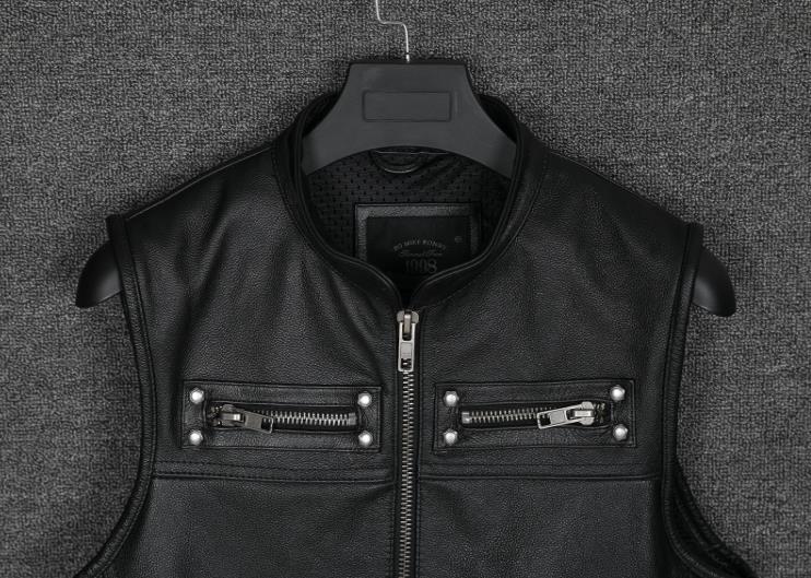 Image 5 - Real Leather Biker Vest Mens Stand Collar Zipper Pockets Motorcycle Vest Jackets Waistcoat Genuine Cow Leather Black SlimGenuine Leather Coats   -
