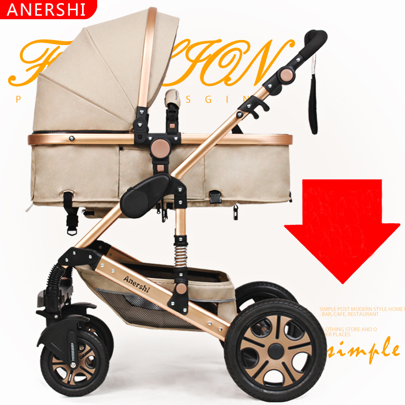 купить Stroller high landscape can sit lie stroller lightweight portable folding baby stroller four children по цене 12188.55 рублей