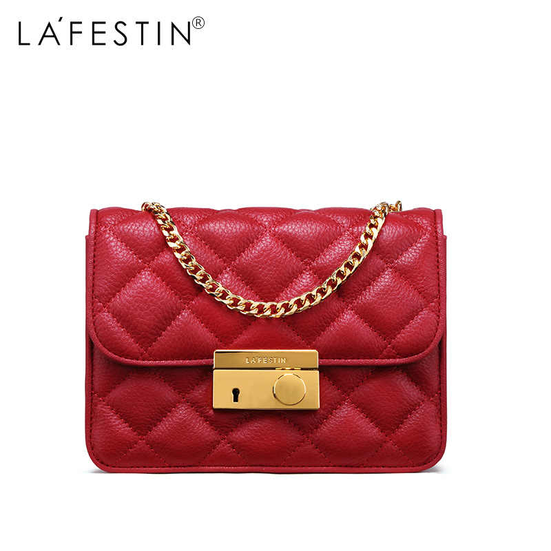LAFESTIN Women Shoulder Bag Genuine Leather Metal Chain Bag Designer Flap Crossbody  Bag Female High Quality fd9cba79e359