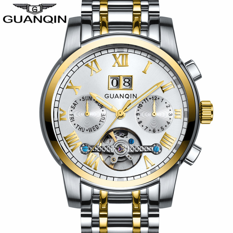 Famous GUANQIN 2016 New Automatic Date Mechanical Watches Men Steel Strip Waterproof Automatic Watch Big Calendar montre homme automatic spanish snacks automatic latin fruit machines