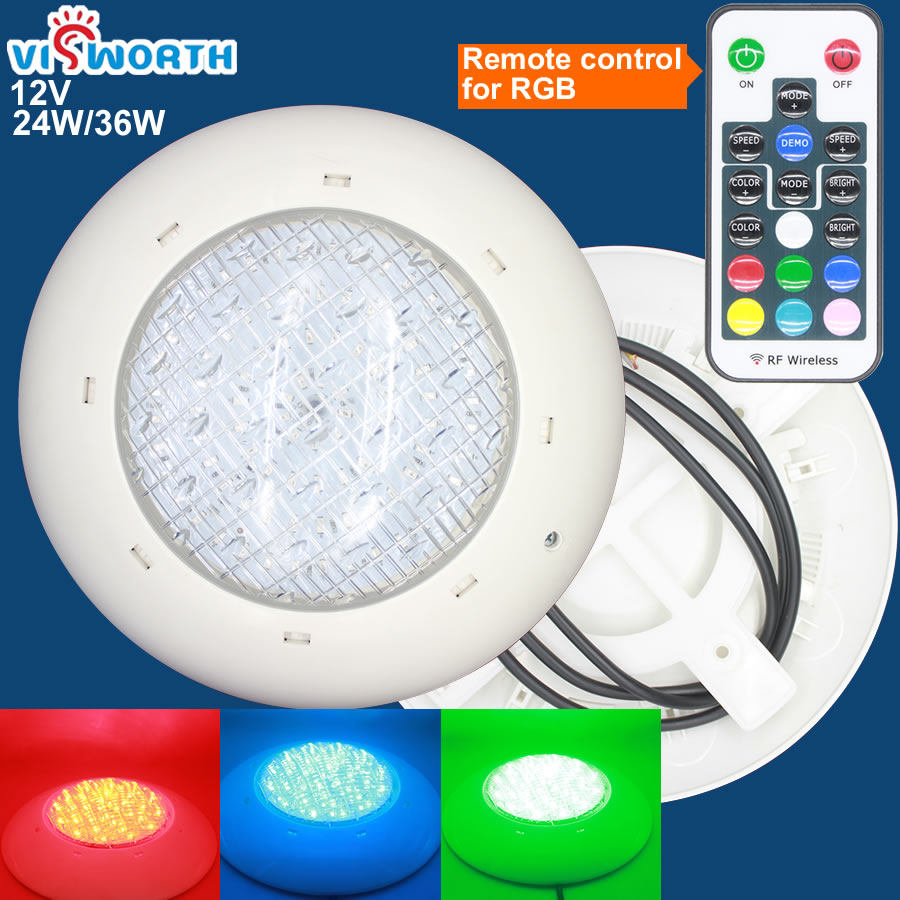 цена на [VisWorth]24W 36W Led Swimming Pool Light IP68 Waterproof AC/DC 12V Outdoor RGB UnderWater Light Pond Led Piscina Luz Spotlight