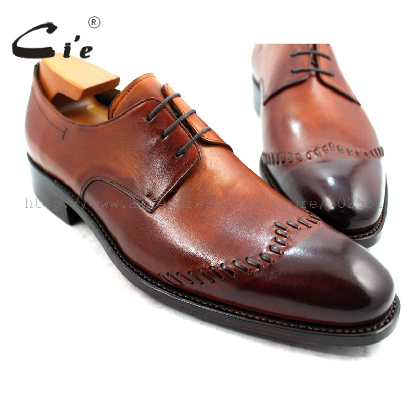 cie Goodyear Welted Narrow Shoe Last Custom Handmade Pure Genuine Calf Leather Men's Dressclassic Patina Brown Derby Shoe D65