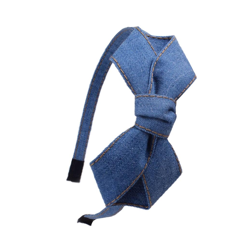 Kvinnor Denim Knotted Bow Headband För Flickor Kaninör Handmade - Kläder tillbehör - Foto 5