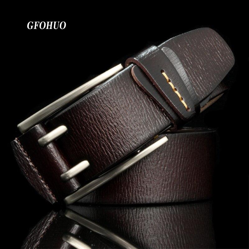 Di modo di Stile Britannico Doppio Spille Fibbia di Alta Qualità Cinghia di Cuoio Genuina Per Gli Uomini Casual Jeans Cinture Cinghia Libera La Nave Spille g