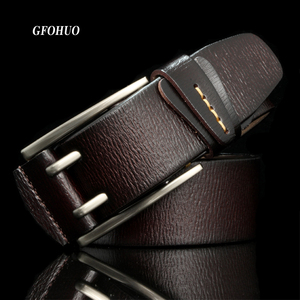 Image 1 - Fashion British Style Double Pin Buckle High Quality Genuine Leather Belt For Men Casual Jeans Waistbands Strap Free Shipping
