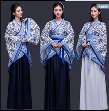 New style Chinese ancient women costume blue and white porcelain Hanfu queen cosplay fairy princess clothing