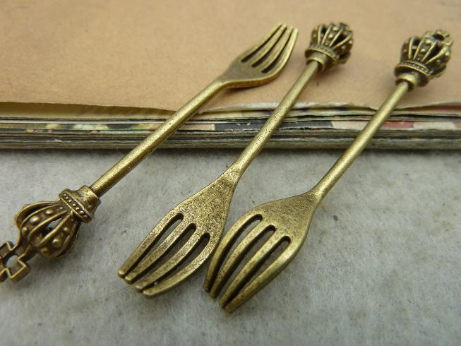 10Pcs Antique Bronze Crown Fork Charm DIY Jewelry Making ...
