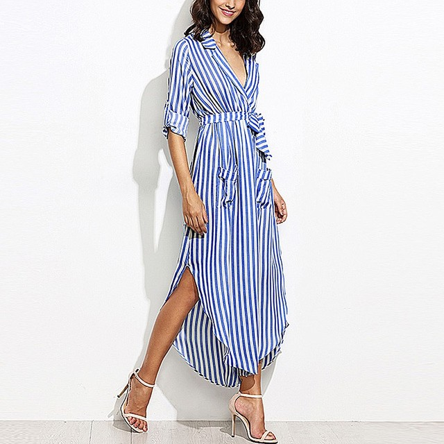 0f7a4cc8290 CELMIA 2018 Women Vertical Striped Long Shirt Dress Ladies Long Sleeve  Split Maxi Dress With Belt Casual Evening Party Vestidos