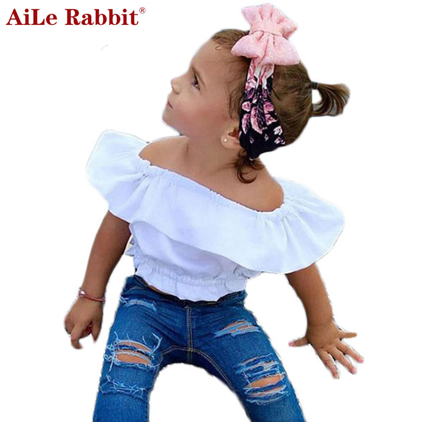 AiLe Rabbit 2017 Summer New Girls Clothes Suit Tops + Pants 2pcs Fashion Lotus Leaf Collar Lips Navel Hole Jeans Denim suit fashion girls new suit tops and pants 2 sets flare sleeve lotus leaf pattern o neck lace bass pants street style girl clothes