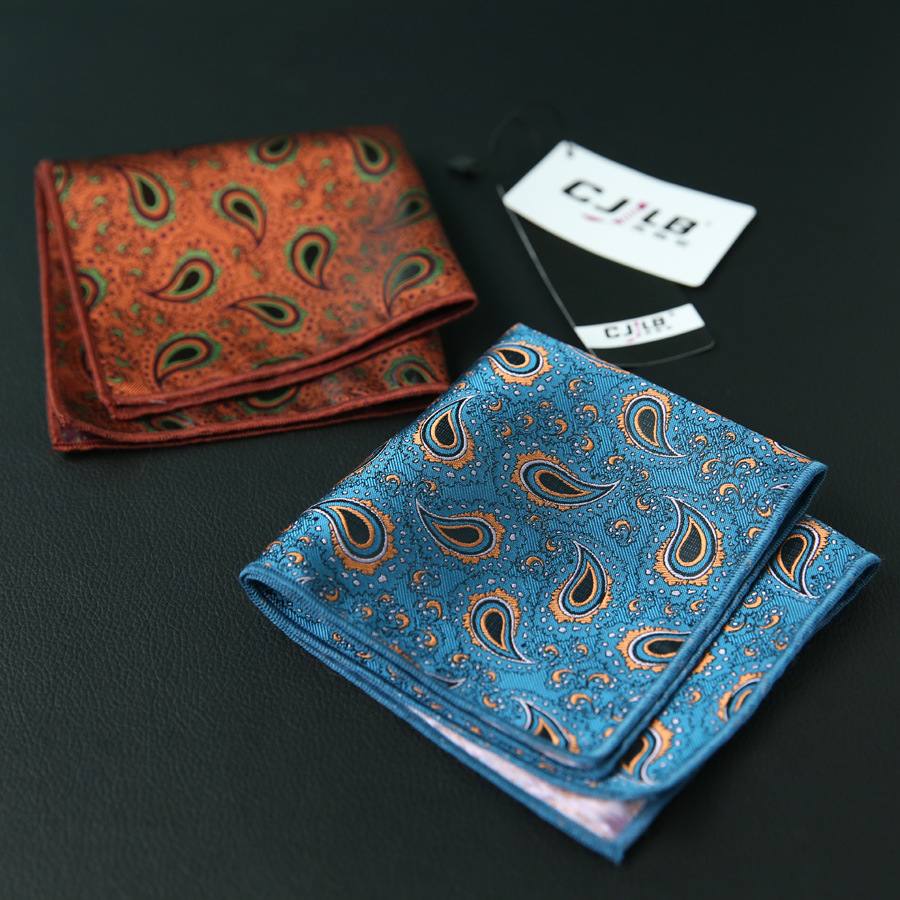 30pcs/lot 23colors Available New Korean Fashion Designer High Quality Handkerchief  Men's Business Pocket Square Vintage Paisley