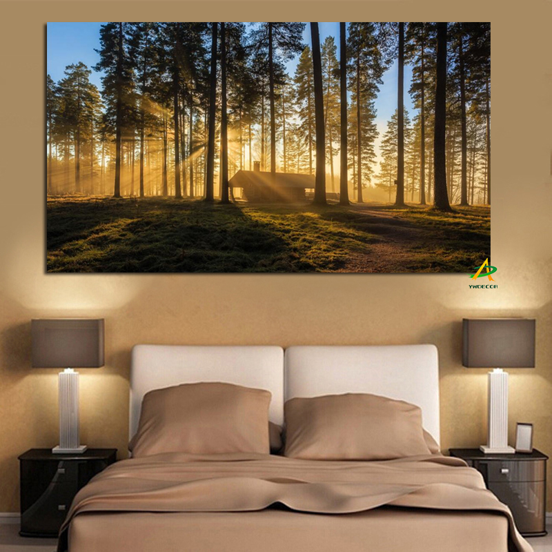 Woods Sun Kyoto Giappone Poster e stampe Paesaggio forestale Pittura su tela scandinava Wall Art Picture for Living Room Cuadros