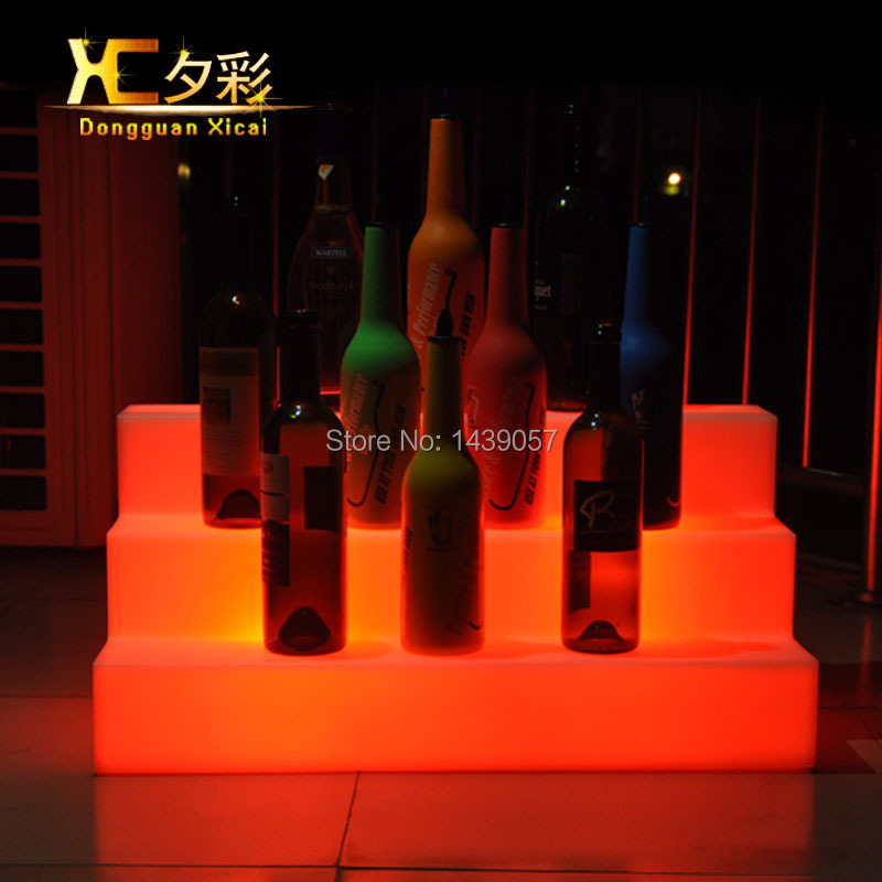 Plastic LED Wine Holder Luminous Display Shelf Color Changing Platform For Bar Home Wedding Ceremony Party led luminous bar stool cocktail table color changing wine drinking desk furniture set for club ceremony anniversary party
