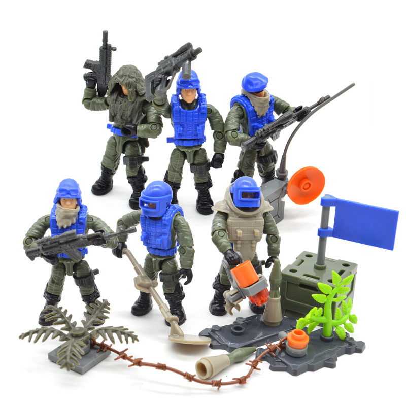 Set UN Blue Army Soldiers Duty Military SWAT Series with Weapons Call Telescope Building Blocks Bricks Toys for Children image