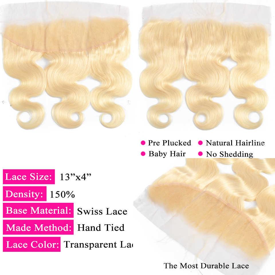 Queenlike цвет 613 бразильские волнистые человеческие волосы Remy пучки с фронтальным светом медовые светлые пучки с закрытием
