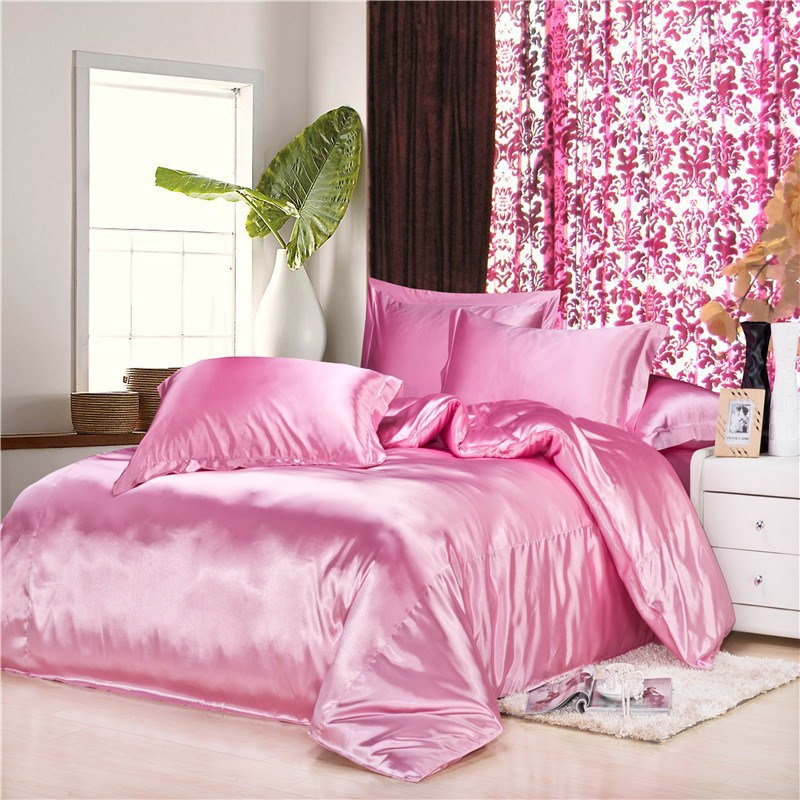 luxury pink chinese silk satin euro design bedding sets 4pc 16 solid color kingqueen