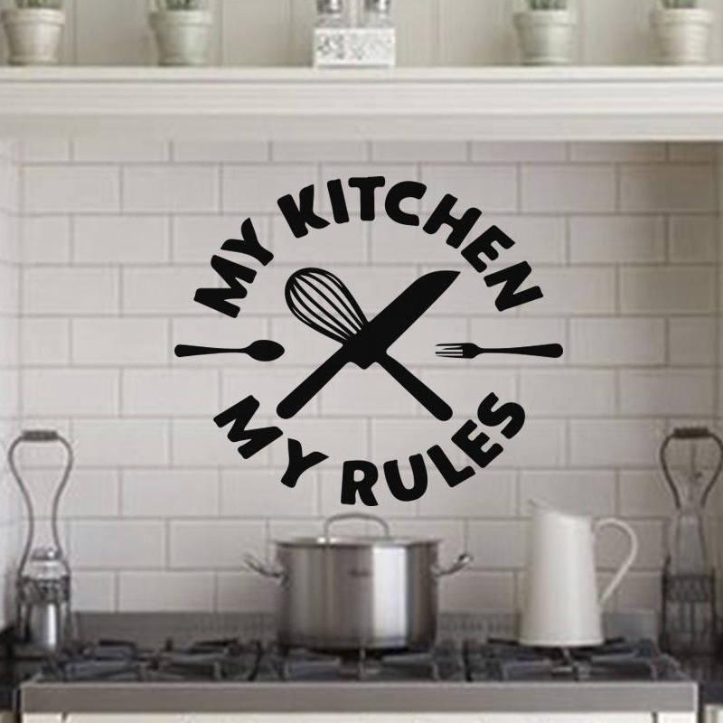 Мой Кухня мои правила Творческий Цитата Виниловые стикеры украшения дома Съемная Книги по искусству наклейки