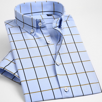 Camisas De Vestir A Cuadros Con Botones De Manga Corta Para Hombre Azul Cielo Hombre Elegante Casual Ajustado Comodo Camiseta Suave Modal Y