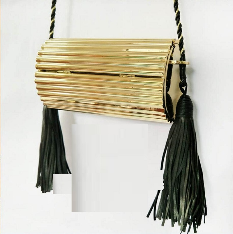 где купить Luxury brand dinner bag acrylic bag tassel bag new high-end fashion crossbody shoulder metal bag дешево
