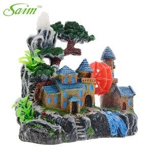 Image 3 - Kreatywny zamek dekoracja akwarium żywica widok górski akwarium ozdoby Waterwheel kamień napowietrzający zielone drzewo akcesoria do akwarium