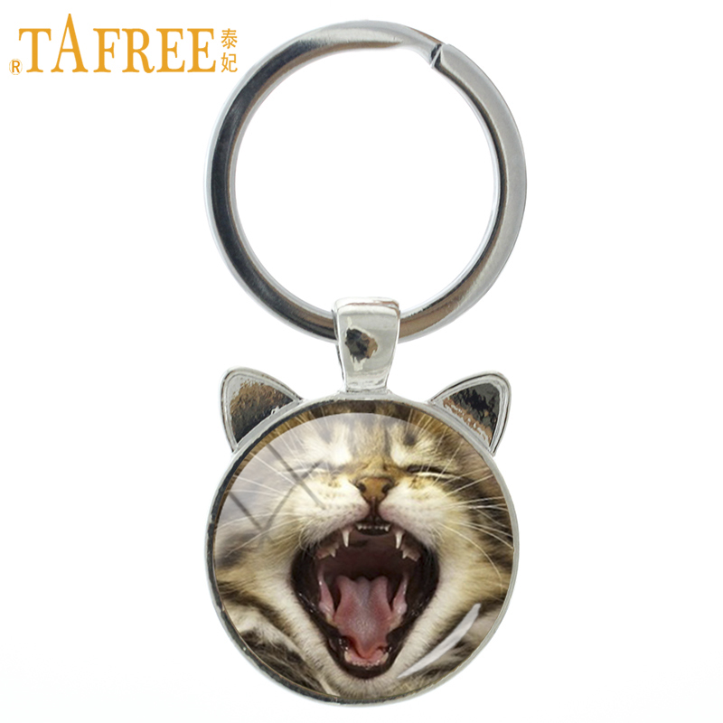 TAFREE Handmade Glass Dome Cat And Tiger Keychain Lovely Yawning Cat Scottish Fold Key Chain Ring Holder New Women Animal CN790 yawning tiger printed tapestry microfiber wall hanging