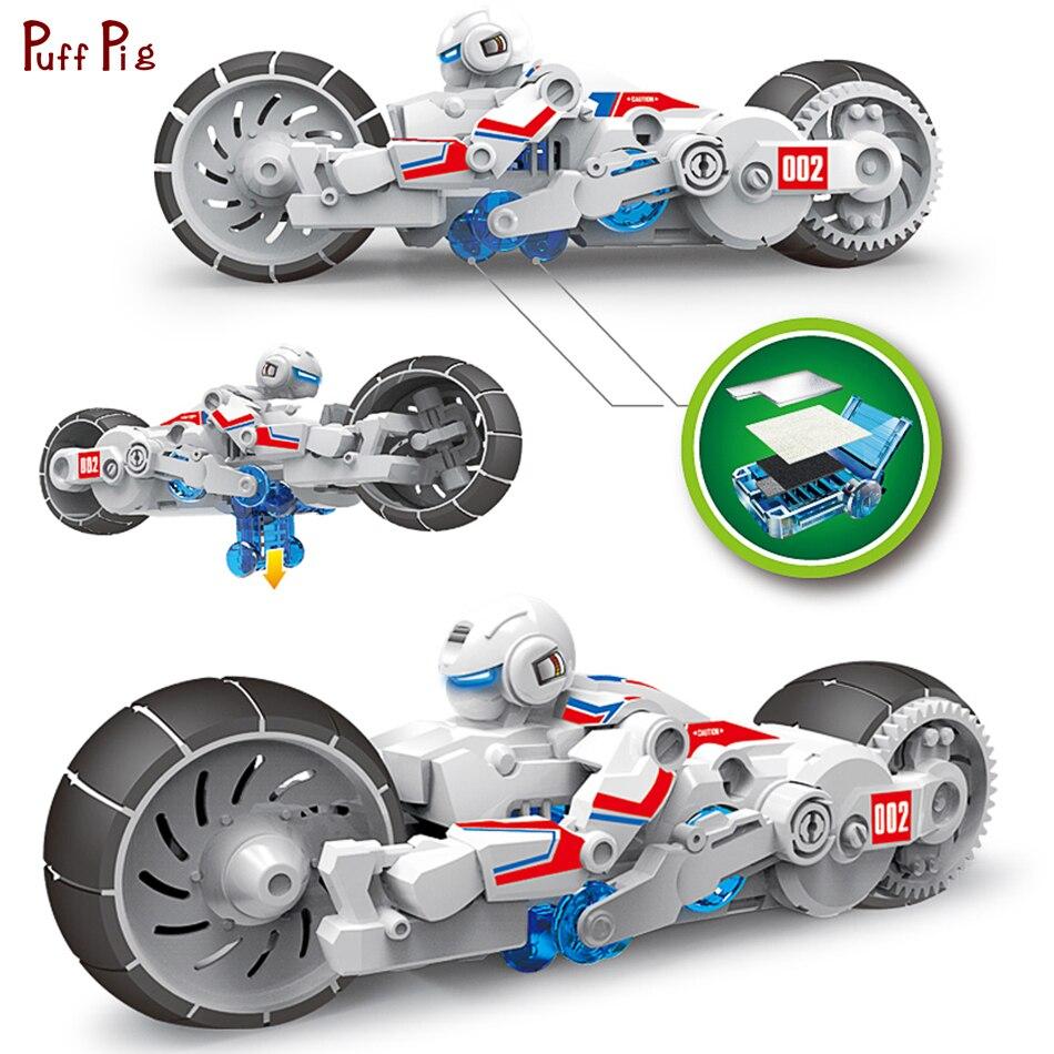 DIY agua salada vuelta motocicleta Asamblea Kit bloques Ciencia y Tecnología ladrillos establece juguetes de construcción para niños