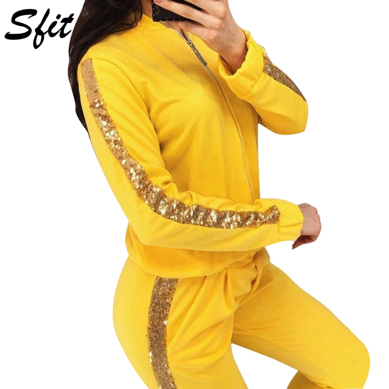 Sfit Womens Glitter Sequin Pullover 2 Piece Outftis Long Sleeve Zipper Sweatshirt Hoodie+Bodycon Pants Sports Set Tracksuit 2019