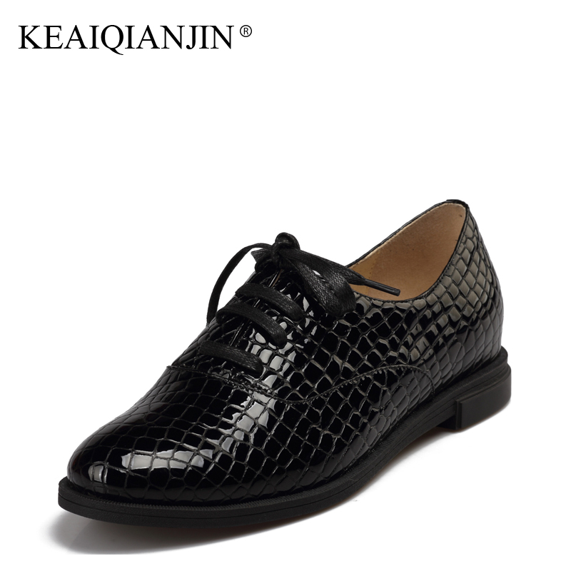 KEAIQIANJIN Woman Patent Leather Derby Shoes Genuine Leather Flats Plus Size 36 - 41 Spring Autumn Fringe Shoes Loafers Black keaiqianjin woman sheepskin flats black red silvery plus size 33 41 spring autumn derby shoes lace up genuine leather shoes