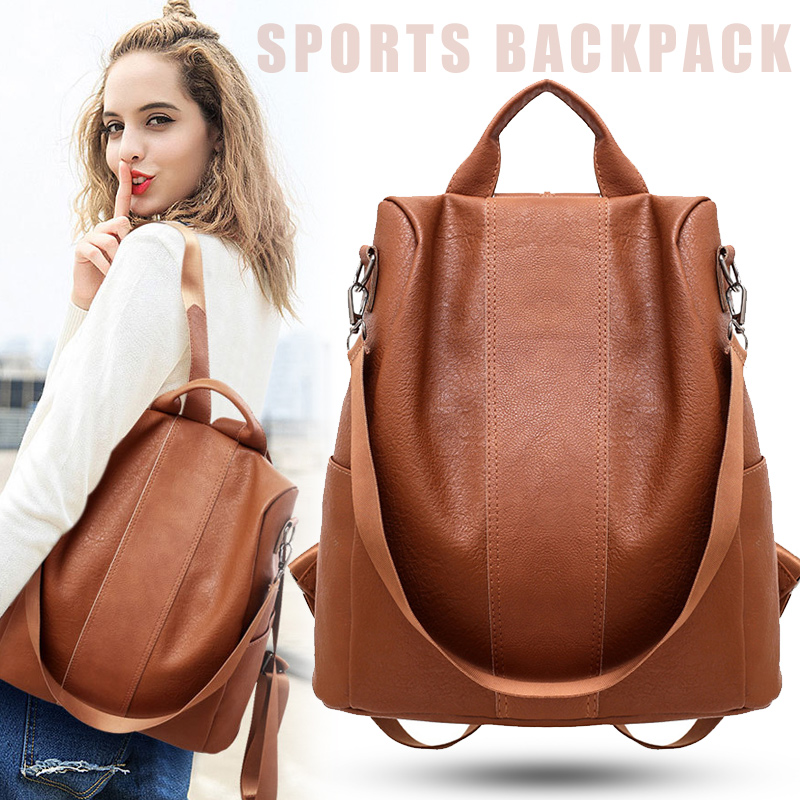 Women Anti-Theft Vintage Backpack PU Leather Large Shoulder Bag  Casual Bag  Waterproof Sports Travel Shopping Backpack