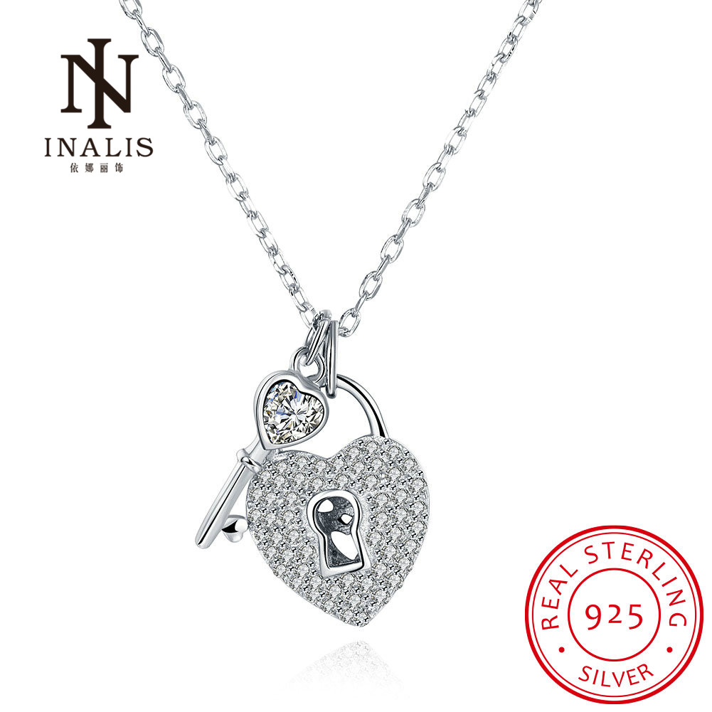 INALIS Fashion Fine Jewelry 925 Sterling Sliver Heart Shape Lock and Key Design Necklace for Woman Gift