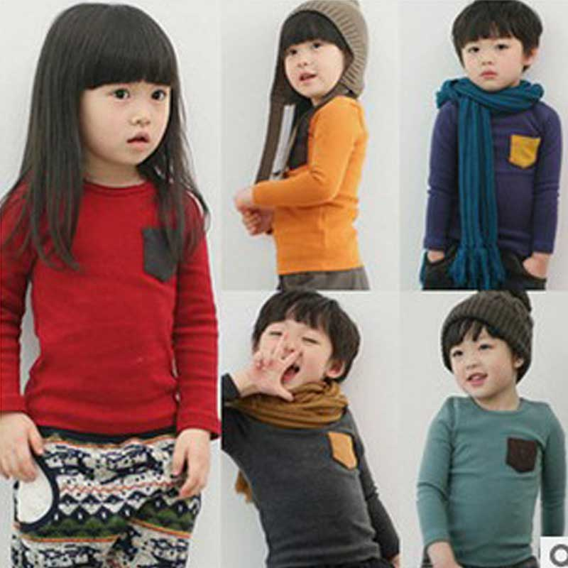 2018 Children's Clothes Spring Model Children's Wear Cotton T-shirt Candy Color Boys and Girls Render Unlined Upper Garment