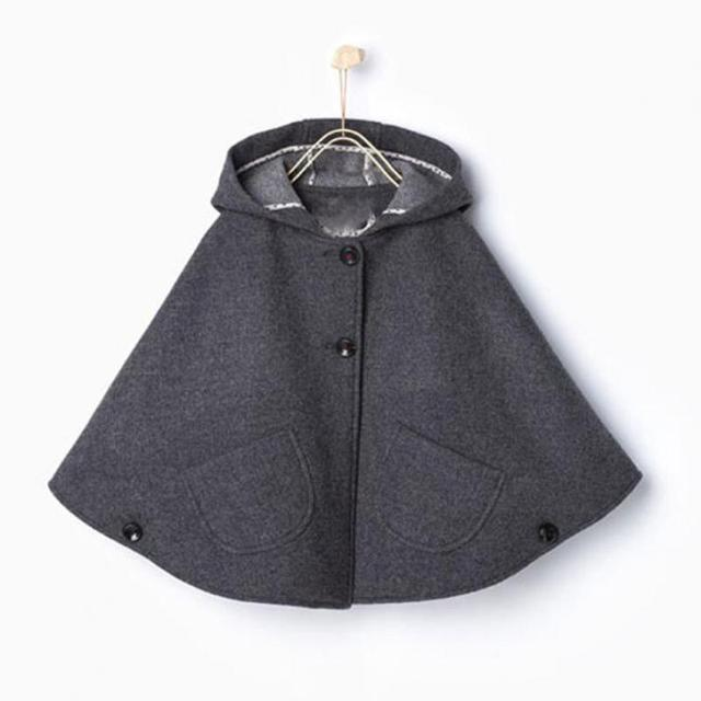 Crianças Meninas De Lã Mistura Com Capuz Cloaks Capes Poncho Casacos de Inverno Outwears Moda Roupas de Natal Para Meninas Casaco de Inverno