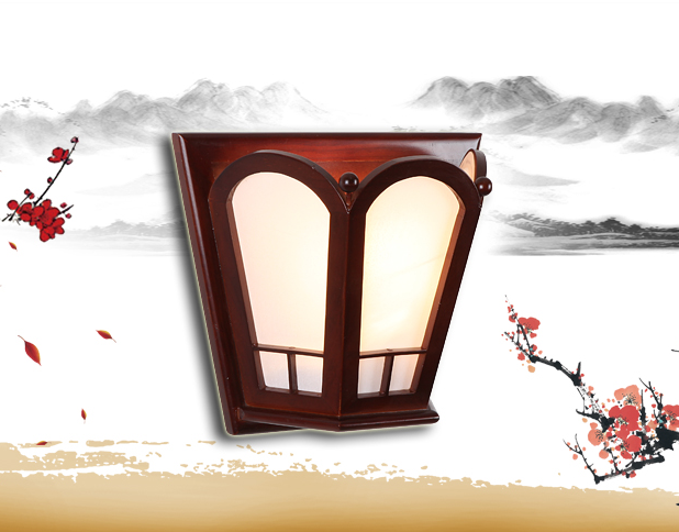 ФОТО Chineses red wood frame wall lamps Modern classic design white parchment E27 LED lamp for bedroom&porch&stairs&studio QLBD007