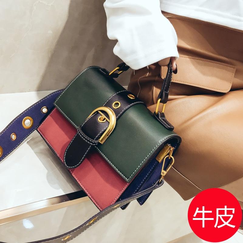 Sacs Coréenne Nouveau Casual brown Clapet Femelle Hit Main Cuir Mode Simple À Couleur Messenger Décorative En Green Ceinture Femmes Veau rFw8rq45