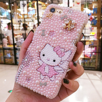 Sam S10 plus Bling Crystal Luxury Pearl Pink Hello Kitty Diamond case For Samsung Galaxy S9 S8 note8 note9 hard gift shell cover
