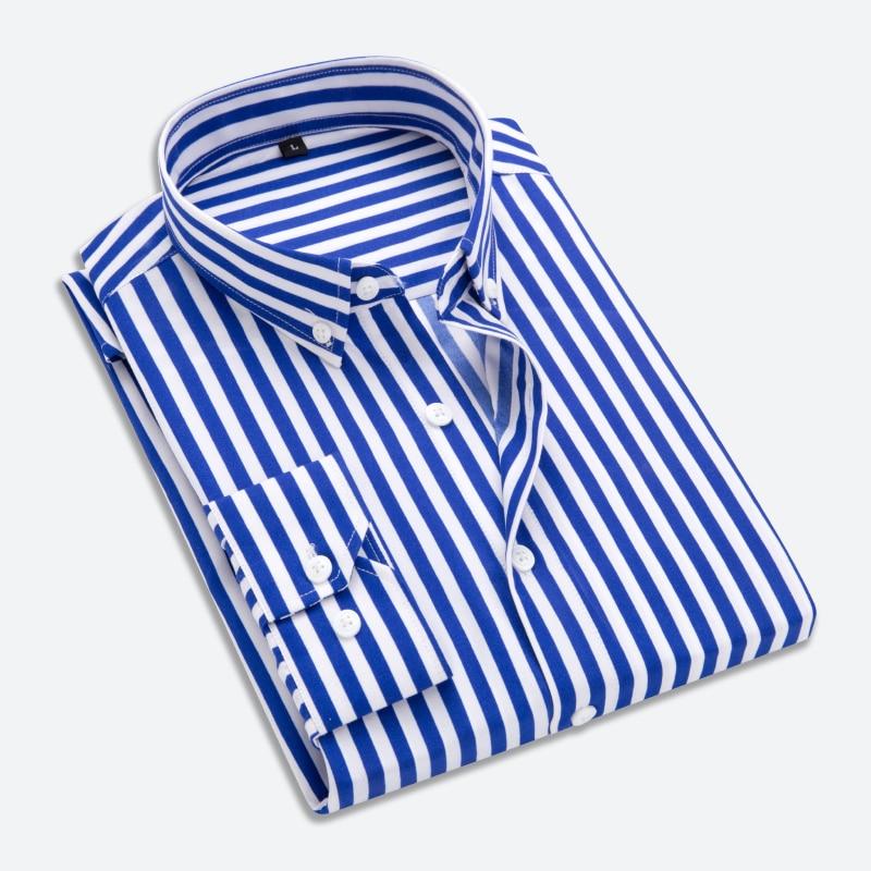 Yimsutsfor 2018 spring new long sleeve cotton shirt men plus size striped luxury brand men shirt ...