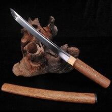 Танто shirasaya мечи полностью ручной работы 1060 Высокая углеродистой стали короткие японский меч самурая Полный Тан лезвие funcational Катана