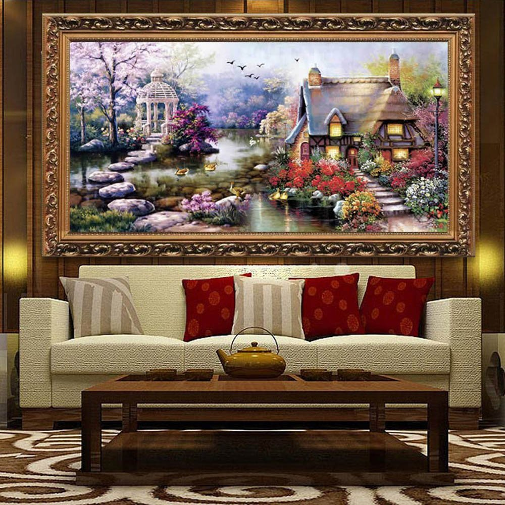 Cross Stitch DIY Handgjorda Needlework Set Broderi Kit Precise Printed Grade Cottage Pattern64 x 37cm Home Decoration