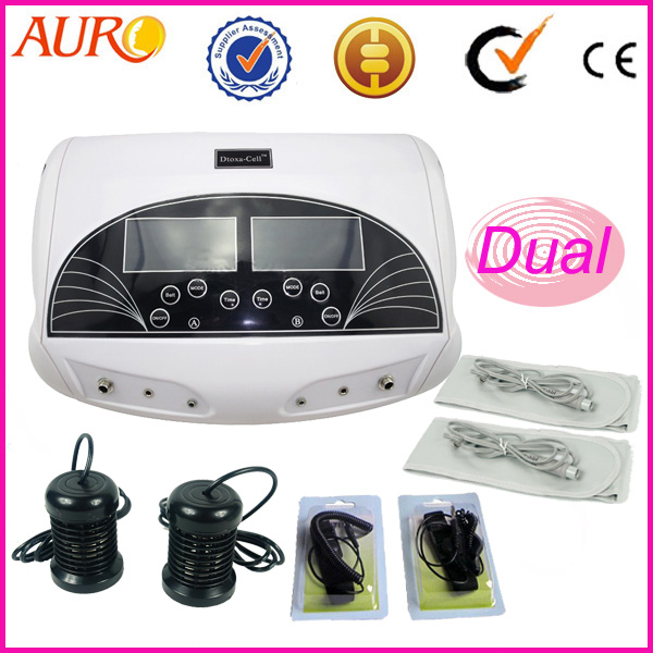 Free Shipping New 2017 Home Dual Ion Spa Detox Feet Massage Machine Foot Ionic Cleanse Device with Infrared Heating Belts