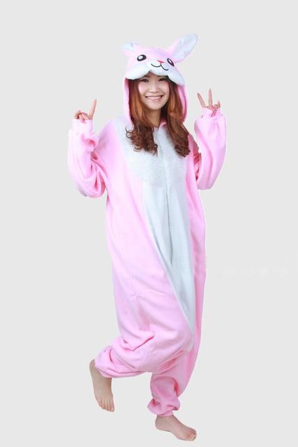 Bunny Rabbit Winter Kigurums Adults Animal Pink Bunny Lovely Rabbit  Christmas Footed Pajamas Onesie Cosplay Costumes Pyjamas b07823efd