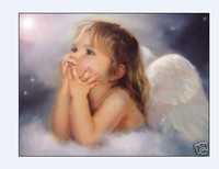 Nuevo 2014 hecho a mano aceite Pintura sobre tela foto decoración de la pared para niños Sala pinturas Angel Girl regalo europeo 20*24 pulgadas
