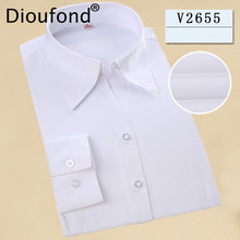 Dioufond Women Formal Solid Color Long Sleeve Blouses Cotton Comfortable V-Neck White Lady Tops Shirt Plus Size 5XL Summer Blusa